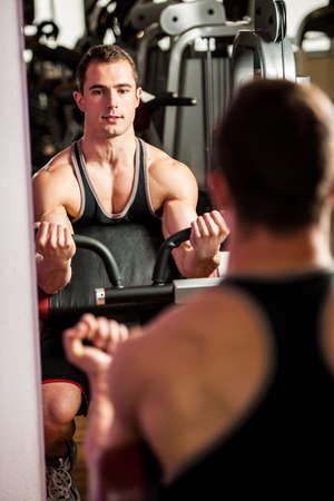 handsom: Handsom young man workout in fitness gym