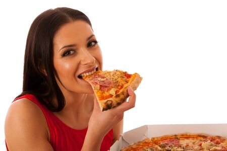 food woman: Smiling woman holding delicious pizza in carton box. Tasty fast food meal.