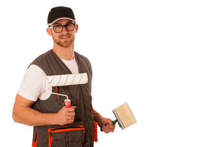 bleaching: Handyman in work clothing with bleaching tools isolated over white. Stock Photo