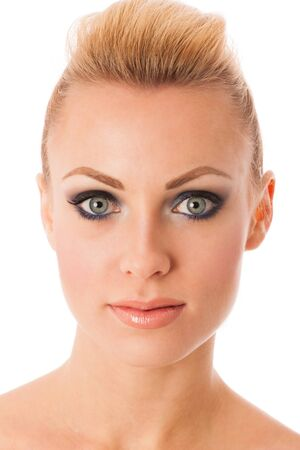 full lips: Beauty portrait of woman with perfect makeup, smokey eyes, full lips thinking about anti-aging facial surgery. Stock Photo