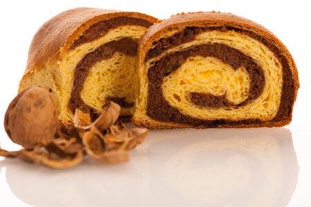 slovenian: Local slovenian dessert sweet potica with wallnuts and raisins Stock Photo