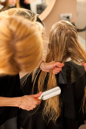 combing: Hair stylist at work - hairdresser combing hair to the customer before doing hairstyle in a professional salon
