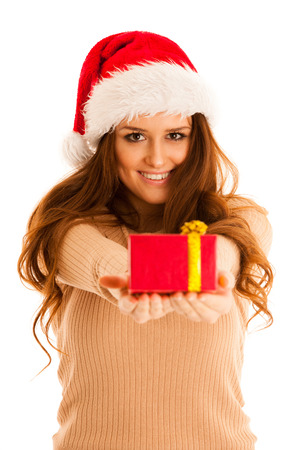 brunete: Cute brunete girl in santa dress with presents for christmas
