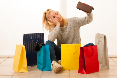 woman after shopping Stock Photo