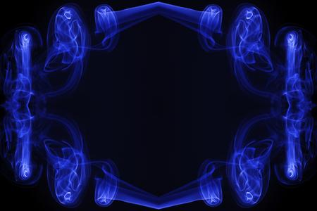 movement of smoke, Abstract Light blue smoke on black background, Light blue background,Light blue ink on black background Stock Photo