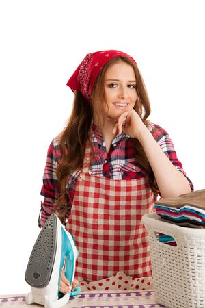 woman finish ironing and she is very happy isolated over white background Stock Photo