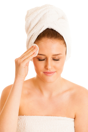 Beautiful young woman cleaning skin conceptual photo for skin care Stock Photo