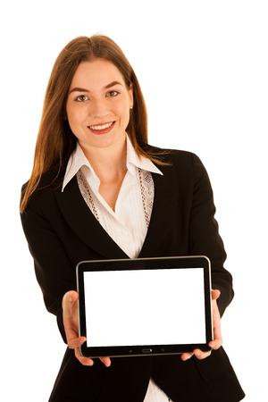 attractive young business woman showing presentation on her tablet