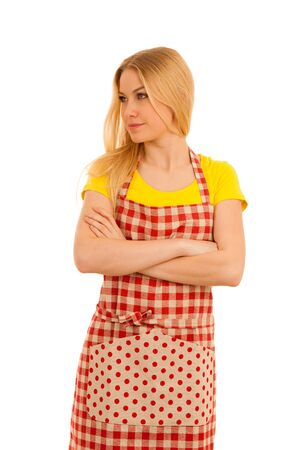 Young woman cook isolated over white background Stock Photo