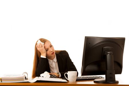 Ill business woman works in office - illness on work Stock Photo
