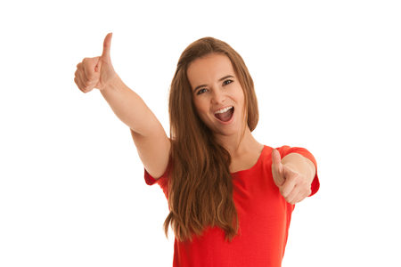 Beautiful young happy caucasian woman gesture succes with showing thumbs up islated over white background