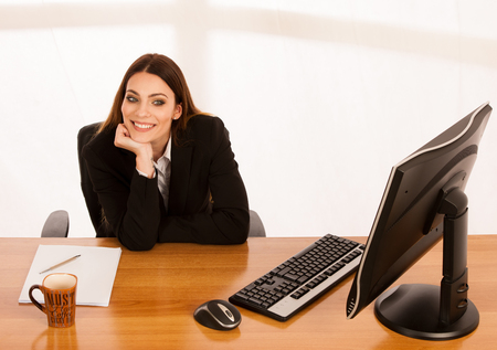 high perspective view of business woman working in office