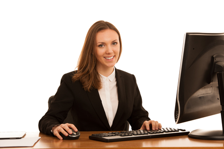 Corporate portrait of young beautiful caucasian business womanwork in the office  isolated over white background