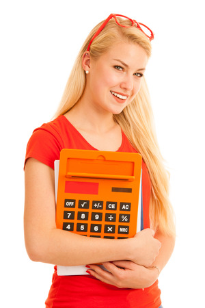Happy blonde student with calculator isolated over white background