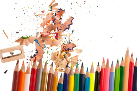 Color pencils isolated over white background Stock Photo