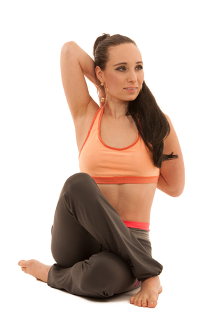 Yoga practice - beautiful young woman with black hair exercise yoga .