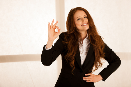 attraactive business woman gesture excellent