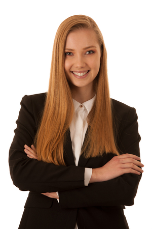 Corporate portrait of a beautiful business woman isolated over white background Stock Photo