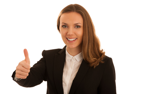 Corporate portrait of young beautiful caucasian business woman showing thumb up as gesture of success isolated over white background Stock Photo