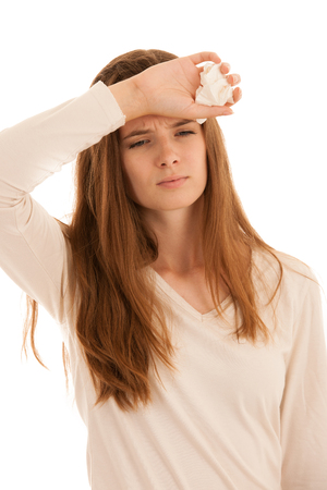 Upset young woman suffering from influenza at home  . Stock Photo