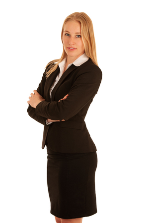 Corporate portrait of a beautiful blonde woman isolated over white background .