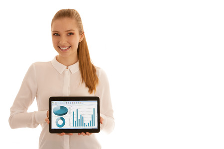 Beautiful business woman shows blank monitor on tablet isolated over white Stock Photo