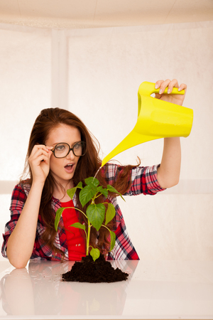 attractive woman botanist spraying a seedling