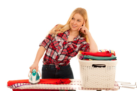 beautiful young woman ironing isolated over white Stock Photo