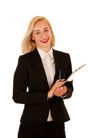 Attractive business woman holding a blank banner for additional text or graphic isolated over white