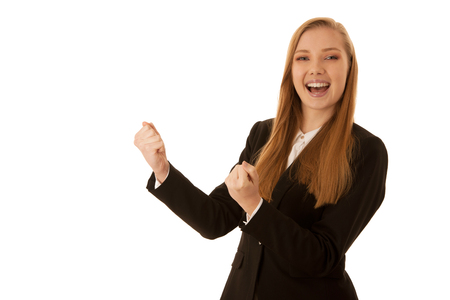 Beauiful business woman gesture success with her arms isolated over white background Stock Photo