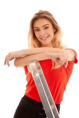 Beautiful Woman,  Girl Wearing red t shirt  Portrait Of Sexy Female With Beauty Face  Posing Near metal Ladder In Studio isolated over white