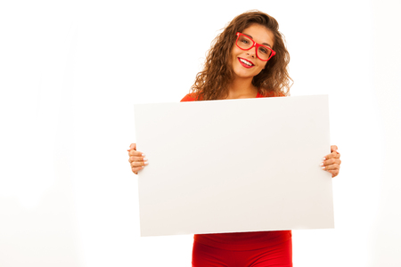 Woman in red showing blank white banner with copy space for additional text, graphics or addvertisement isolated over white