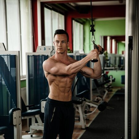 phisique fitness competitor works out in gym lifting dumbbells