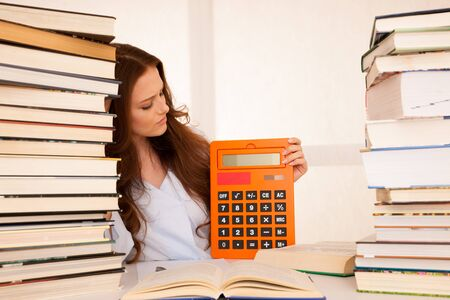 attractive young woman student studi math