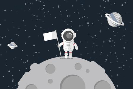 Platte ontwerp, Astronaut staan op de maan met een vlag, vectorillustratie, Infographic Element