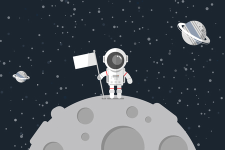 Flat design, Astronaut stand on the moon with a flag, Vector illustration, Infographic Element Illustration