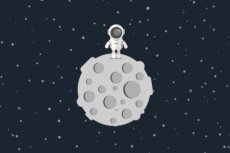 spacesuit: Flat design, Astronaut stand on the moon, Vector illustration, Infographic Element