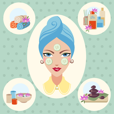 cosmetician: Girl at spa treatments on green background Illustration