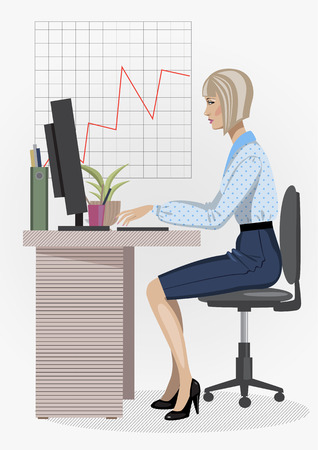 illustration of smart woman sitting on sofa at office