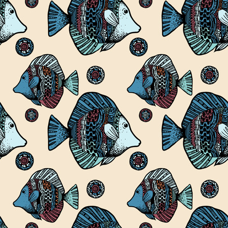 Beautiful graphically ethnic fish pattern on beige background - vector