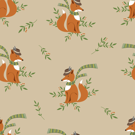 Funny foxy with scarf pattern on beige background-vector