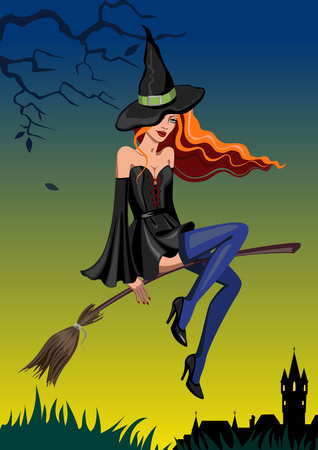 Halloween witch with a broom on a background of dark sky Иллюстрация