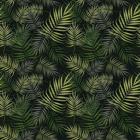 Green palm leaves pattern on black background