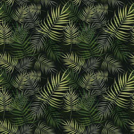 黒の背景に緑のヤシの葉のパターン  イラスト・ベクター素材
