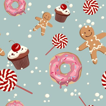 Sweet cape cakes pattern on blue background. Seamless. Иллюстрация