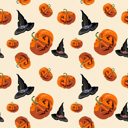 Halloween pumpkins and hat witches pattern on beige background