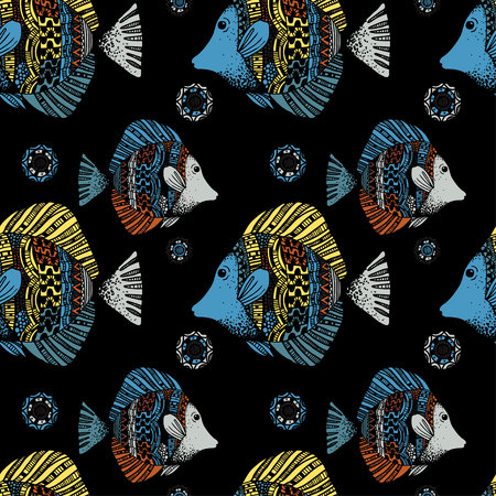 Beautiful graphically ethnic fish pattern on black background - vector
