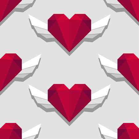 Triangular heart with wings seamless pattern on grey background Иллюстрация