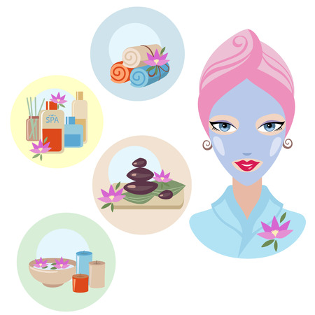 skincare facial: Girl at spa treatment on white background - vector