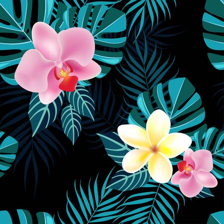 Tropical flowers and foliage pattern on black background